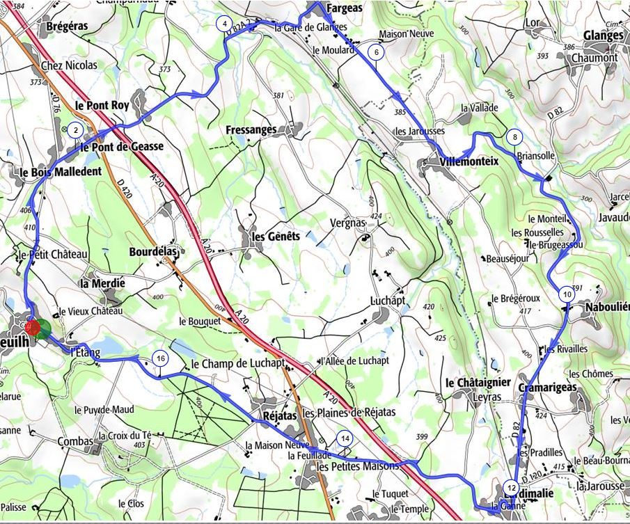 Parcours velo route 6 ars 2016